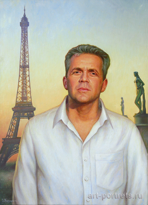 Paris at night portrait. Man's portrait on background of the eiffel tower