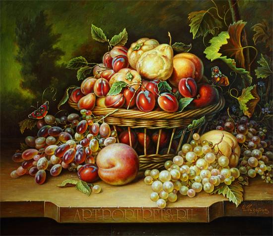 """Натюрморт  """"Корзина с фруктами """" (часть II).  Main album.  Original size."""