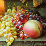 Grape, peach, plum. fragment