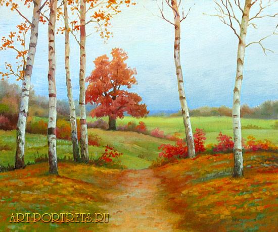 Пейзажи осени картинки нарисованные