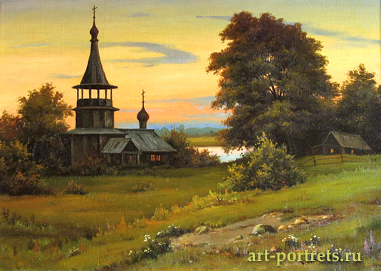 Landscape with Church in the Summer. Mid 90th