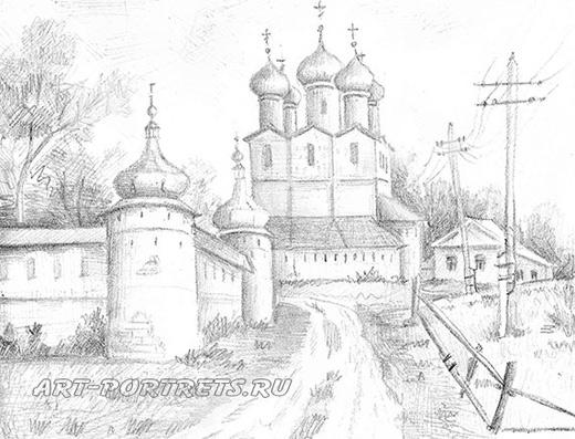 Рисунок церковь набросок карандаш