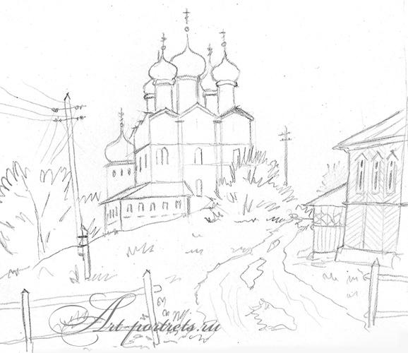 ... церковь. Рисунок простым карандашом: www.art-portrets.ru/selskaya_tserkov.html