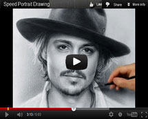Johnny Depp portrait drawing video