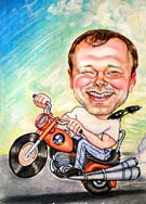 Cheerful caricature on a motorcycle
