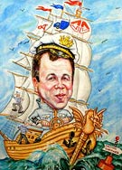 Caricature on a ship with Captain