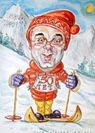 Fan sport. Skier caricature drawing