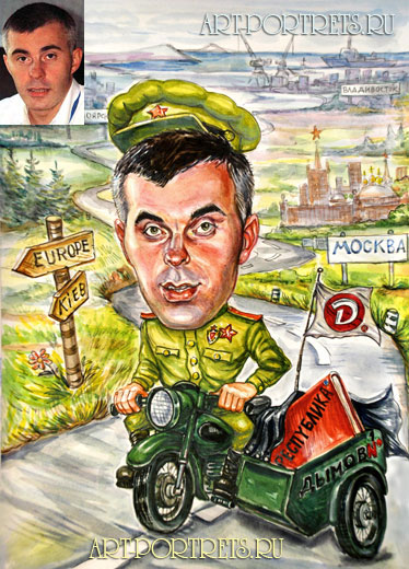 Moto racer. celebrity side caricature