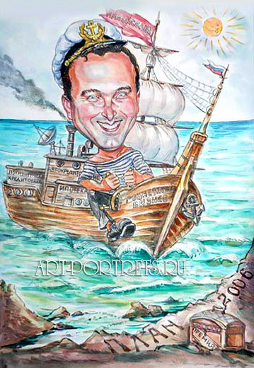 Captain power. Caricature of sea captain