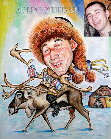 Young man in Tundra on deer, caricature