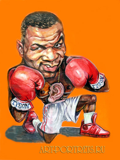 Mike Tayson. cartoon to boxer
