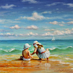 Kids on the beach painting