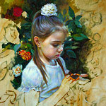Painting of a little girl with a butterfly fragment 2015