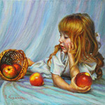 Painting little girl with apples