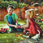 Painting Children play in the garden 2015