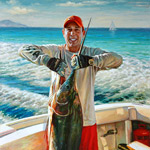 Portrait painting of a fisherman with a marlin. 2015