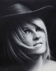portrait commission of a girl in a hat