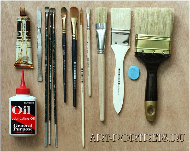 Drawing materials, dry brush tools