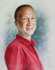 Colorful portrait of successful a man in a red shirt