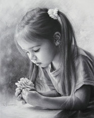 Drawing little girl with a flower 2015