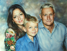 Family portrait of 3 people. Dry brush