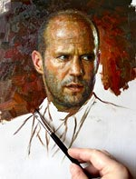 Jason Statham in the process of work oil on canvase
