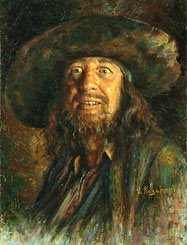 Geoffrey Roy Rush Painting. Captain of Barbossa