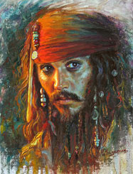 Portrait of Johnny Depp Celebrity Painting
