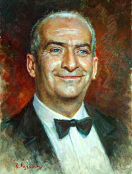 Louis de Funes Painting. Comedian actor