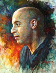Vin Diesel Painting Portrait, Mark Sinclair