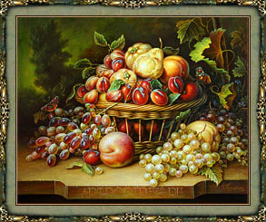 Paintings of fruit in baskets