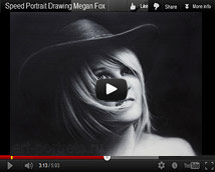 Black and white video portrait commission of a girl in a hat