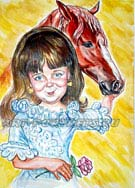 Girl and race horse